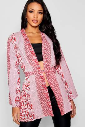 boohoo Scarf Print Kimono
