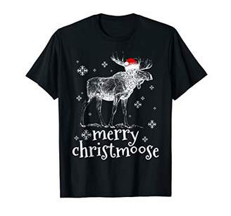 Merry Christmoose With Hat Santa Christmas Moose Pajama Tee
