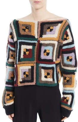 Rosetta Getty Bateau-Neck Long-Sleeve Square-Quilt Pullover Sweater