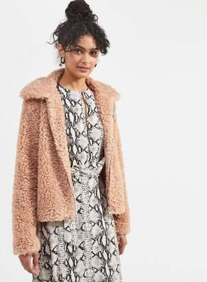 Miss Selfridge Pink teddy coat