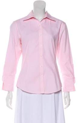 Brooks Brothers Pointed Collar Button-Up Top