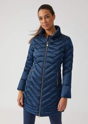 Emporio Armani Ea7 Long Windproof Technical Fabric Jacket With Down Padding