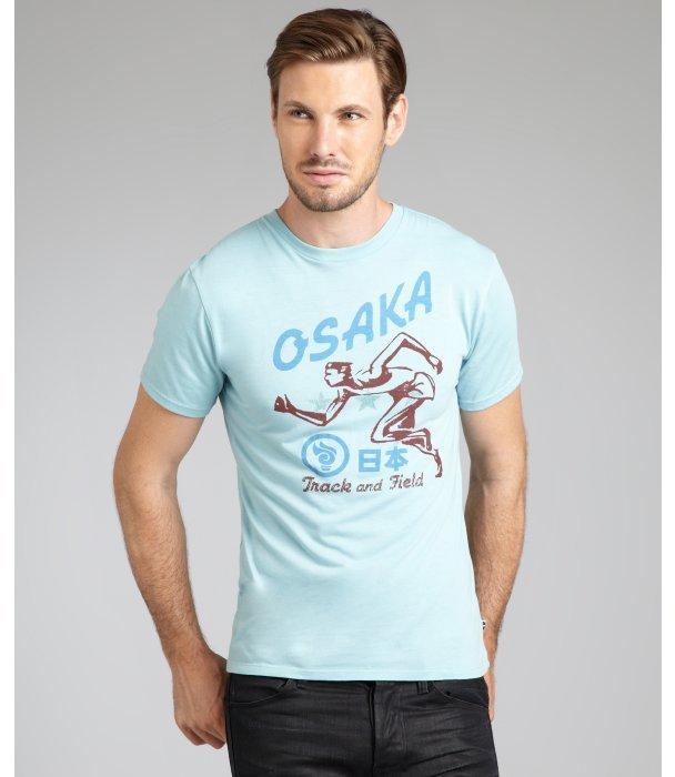 Blue Marlin carolina blue cotton blend 'Osaka' graphic t-shirt
