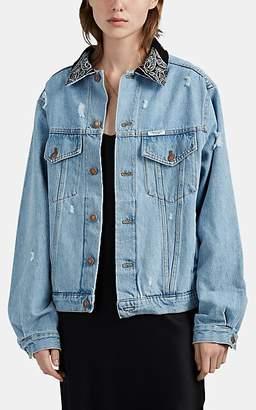 Couture Forte Dei Marmi Women's Bandana Denim Trucker Jacket - Blue