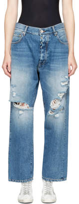 Unravel Indigo Distressed Baggy Boy Jeans