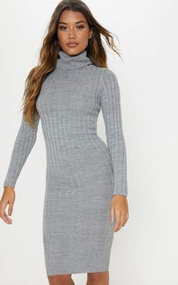 PrettyLittleThing Neon Yellow Ribbed Roll Neck Midi Dress