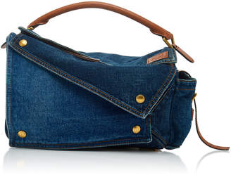 Loewe Puzzle Pocket Denim And Leather Bag