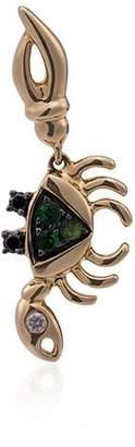 Leon Yvonne Green Crab Mini Gold and Diamond Single Earring