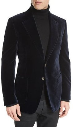 TOM FORD Shelton Base Velvet Sport Jacket, Navy $3,440 thestylecure.com
