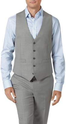 Light Grey Adjustable Fit Twill Business Suit Wool Waistcoat Size w44