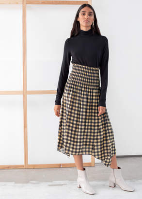 And other stories Smocked Waist Plaid Midi Skirt
