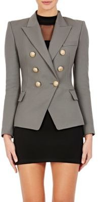 Balmain Women's Wool Double-Breasted Blazer-GREY $2,370 thestylecure.com
