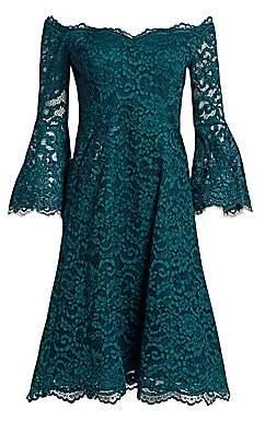 Teri Jon by Rickie Freeman Women's Bell Sleeve Off-The-Shoulder Lace Dress