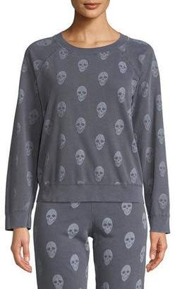Monrow Vintage Skull-Print Raglan Pullover Sweater