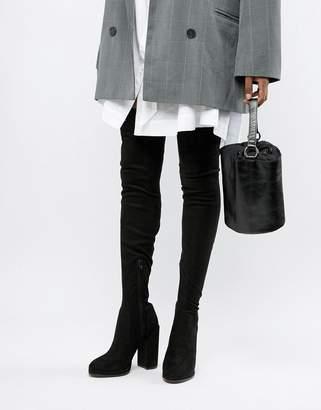 Asos Design DESIGN Slim Kassidy heeled thigh high boots