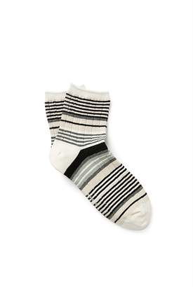 Country Road Ribbed Stripe Quarter Crew Socks