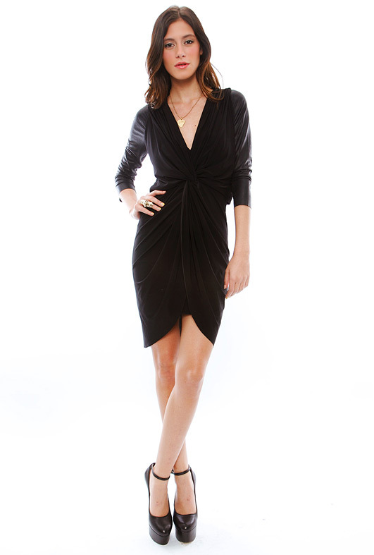 T-Bags T Bags Twist Front Dress in Black