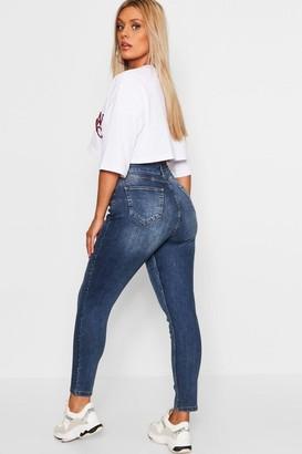 boohoo Plus Butt Shaper Mid Rise Skinny Jean