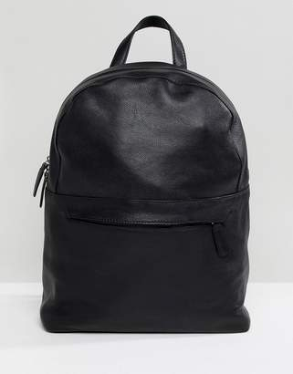 Asos DESIGN Leather Backpack In Black With Front Zip