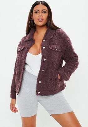 Missguided Curve Wine Borg Trucker Jacket, Red