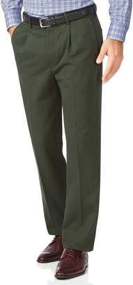 Charles Tyrwhitt Dark Green Classic Fit Single Pleat Non-Iron Cotton Chino Pants Size W34 L30