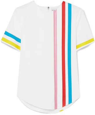 Mira Mikati Striped Cotton-blend Top - White