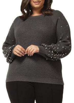 Dex Plus Faux Pearl-Embellished Sweater