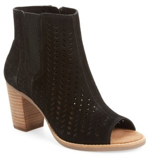 Women's Toms Majorca Perforated Suede Bootie $108.95 thestylecure.com