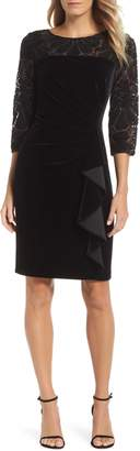 Alex Evenings Velvet Embroidered Sheath Dress