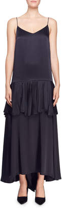 Stella McCartney Tiered Satin Spaghetti-Strap Gown