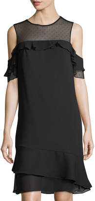 Nanette Lepore Nanette Cold-Shoulder Mixed-Media Ruffle Dress