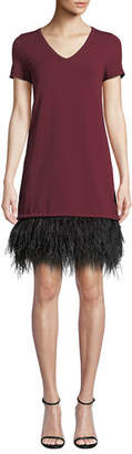 Milly V-Neck Short-Sleeve Feather-Hem Dress