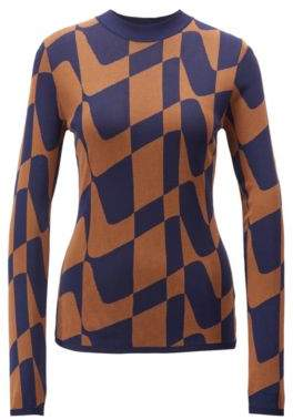 BOSS Hugo Slim-fit sweater in abstract Italian jacquard L Patterned