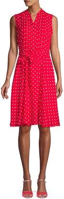 Nanette Lepore Nanette Polka Dot Pintuck Shirtdress