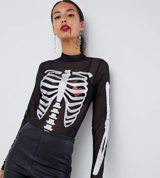 Asos Tall DESIGN Tall halloween body with glitter skeleton