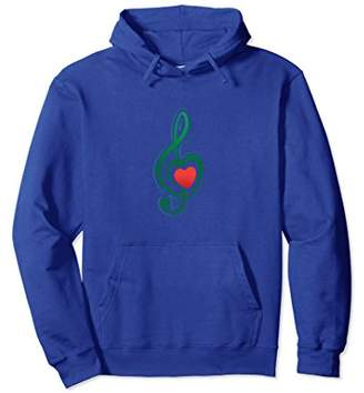 Funny Music Note Musician Lover Red Heart Gift Hoodie