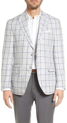 JKT NEW YORK London Trim Fit Windowpane Linen Sport Coat