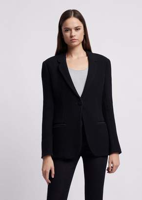 Emporio Armani Pure Cotton Jersey Jacket With Embossed Checkered Pattern