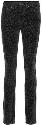 Saint Laurent Leopard velvet skinny jeans