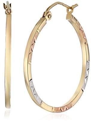 14k Gold Tri-Color Round Hoop Earrings