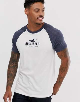 aff4a02e976 Hollister iconic tech logo raglan baseball t-shirt in white