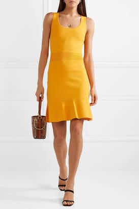 MICHAEL Michael Kors Fluted Stretch-knit Mini Dress - Saffron