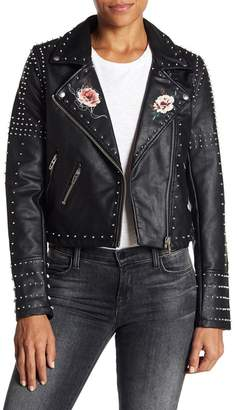 Blank NYC BLANKNYC Denim Stud Floral Moto Faux Leather Jacket