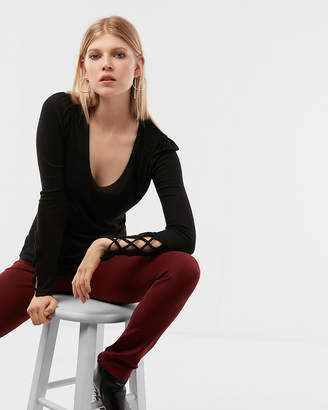 Express Petite Ribbed Puff Shoulder Lace-Up Top