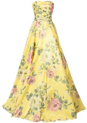 Marchesa strapless floral-print gown