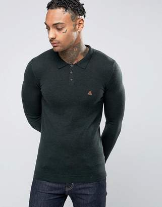 Asos Muscle Fit Knitted Polo with Logo in Merino Wool