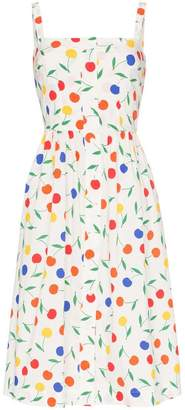 HVN Laura rainbow cherry print sleeveless midi dress