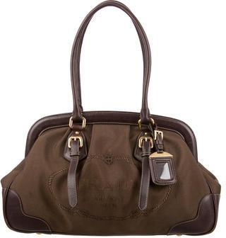 pradaPrada Leather-Trimmed Logo Canvas Bag