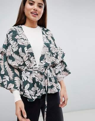 AX Paris Palm Print Kimono
