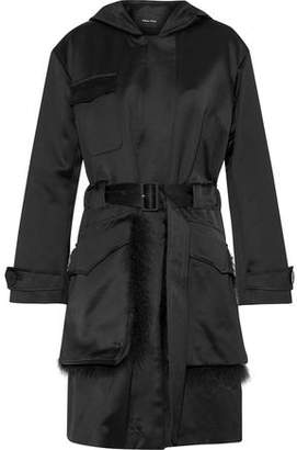 Simone Rocha Feather-Trimmed Cotton-Blend Satin Hooded Trench Coat